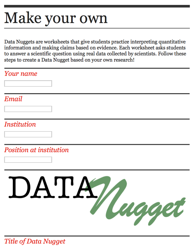Complete the online form to submit a Data Nugget based on your own research!