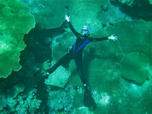 Scientist Carly working on a coral reef