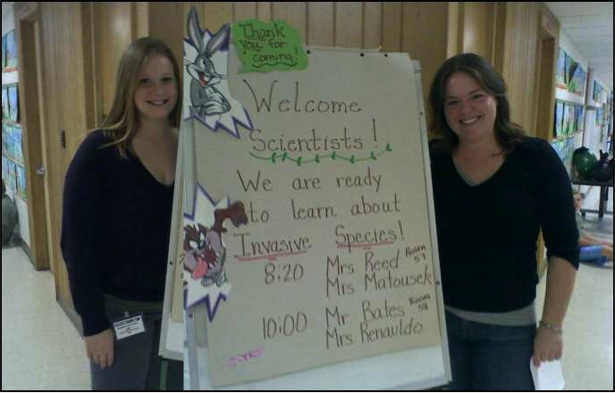Melissa and Liz heading to the classroom to present their research!