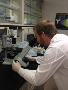 Adam working in the lab at Colorado State University.
