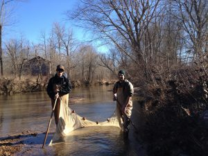 Michael (right) in the field, collecting darters. Photo by Tamra Mendelson.