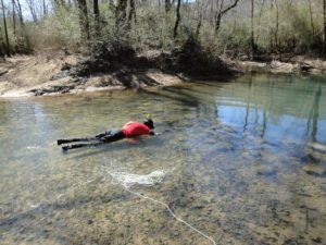 Michael snorkeling, looking for darters.
